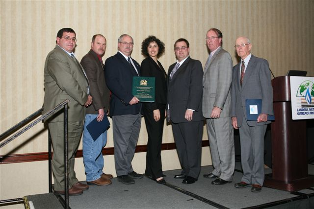 Left to Right, Alan Roman, Consultant; Tim Nichols, SECCRA Board Member; Bill Stullken, SECCRA General Manager; Rachel Goldstein, EPA; Scott Mengle, SECCRA Administrative Supervisor; Rick Cairns, SECCRA Board President; Bill Corbishly, Former SECCRA Board Member.