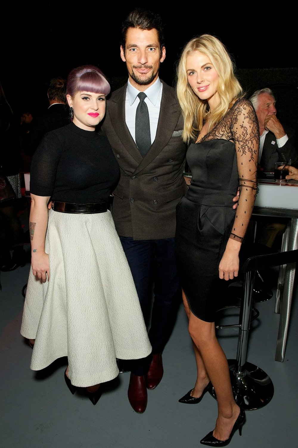 Donna Air wearing Yanny with David Gandy and Kelly Osbourne at the Jaguar F-Type R Coupe Event, LA.