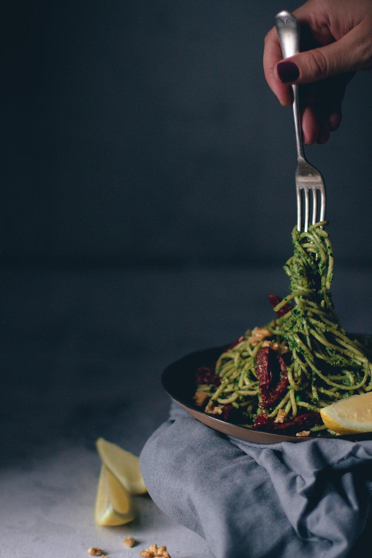 walnut spinach pesto spaghetti - wee scottish whisk.jpg