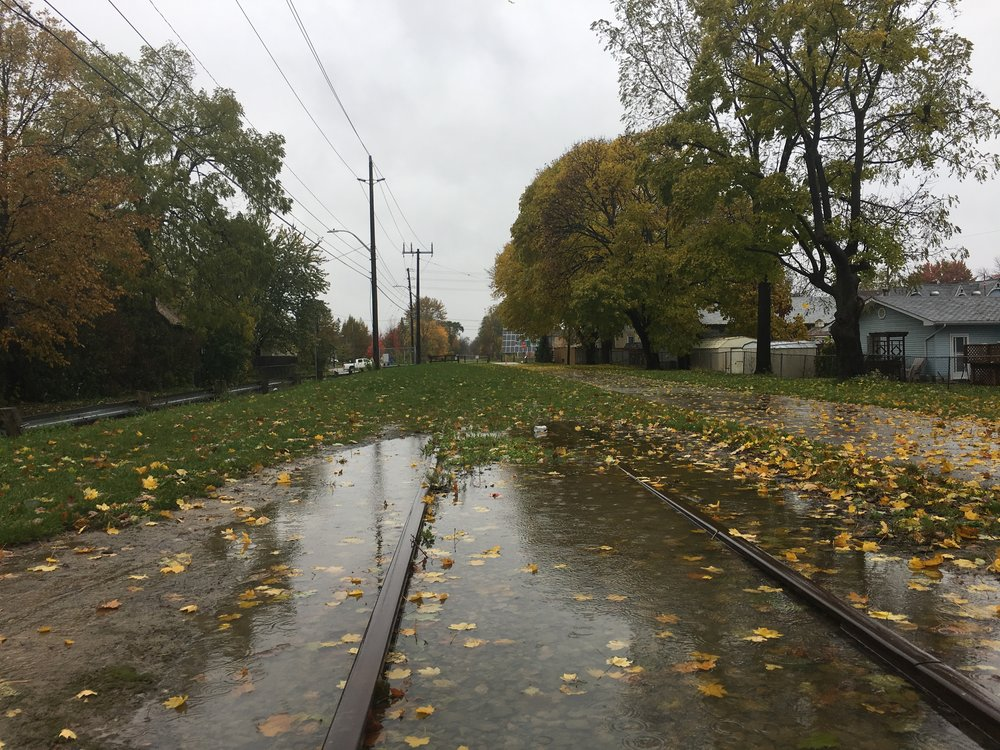 Currently, there is a section of track missing in the London & Port Stanley Terminal Railway line. The photo above highlights the southern point of the missing section, just south of Kains Street in St. Thomas. In 2017, the City of St. Thomas received funding from the federal government to complete the track, part of the 'Canada 150' program, but the project has been delayed, apparently the result of setbacks in negotiations with CN Railway.