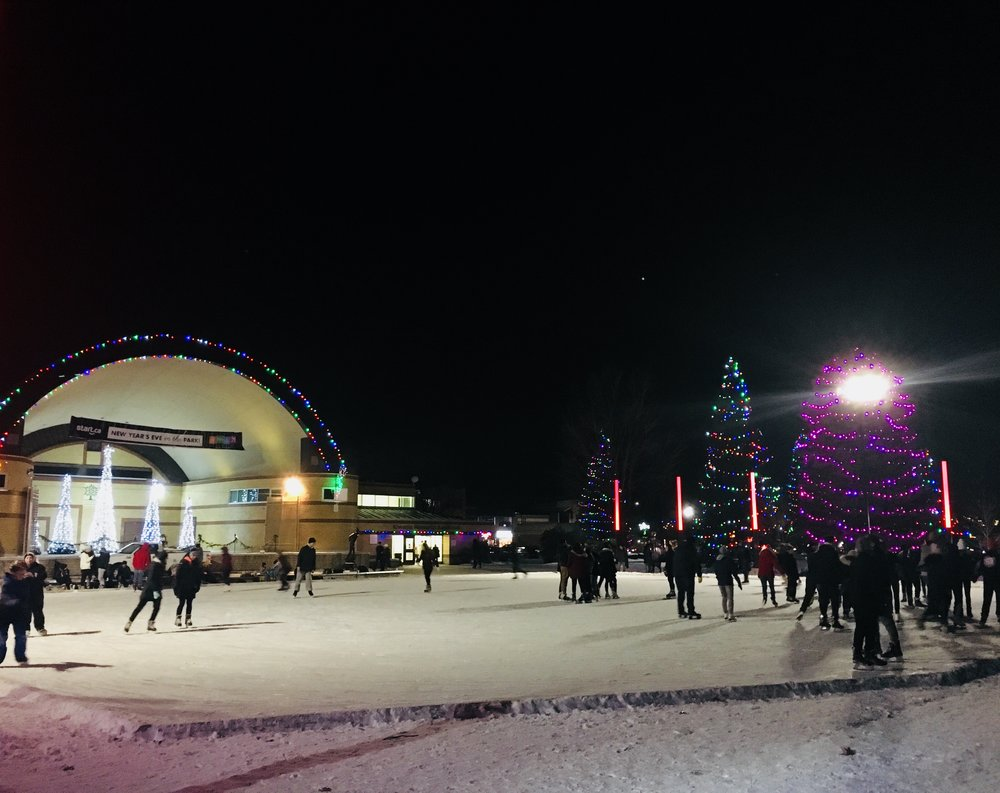 The skating rink in Victoria Park in London provides a great focal point of activity in the winter.