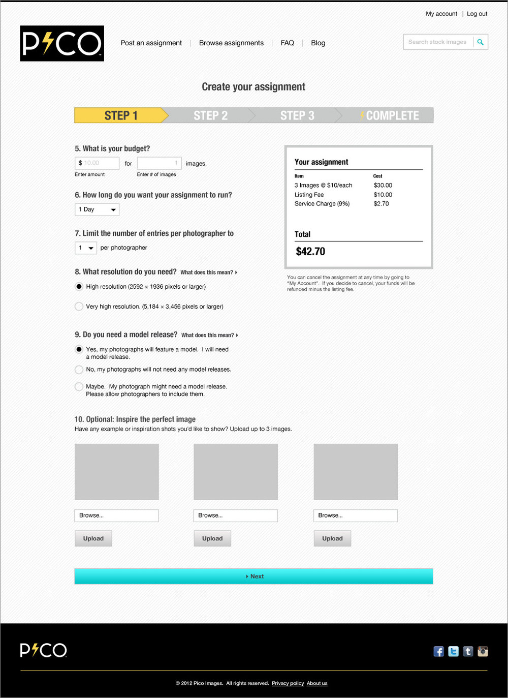 Buyers create an assignment
