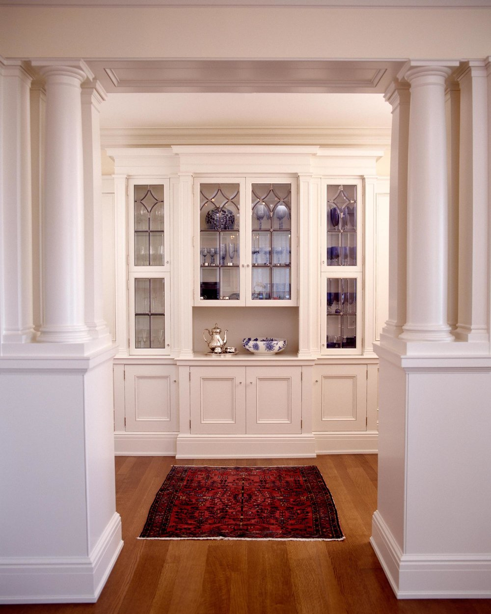 House interior design with white cabinet and hardwood floor