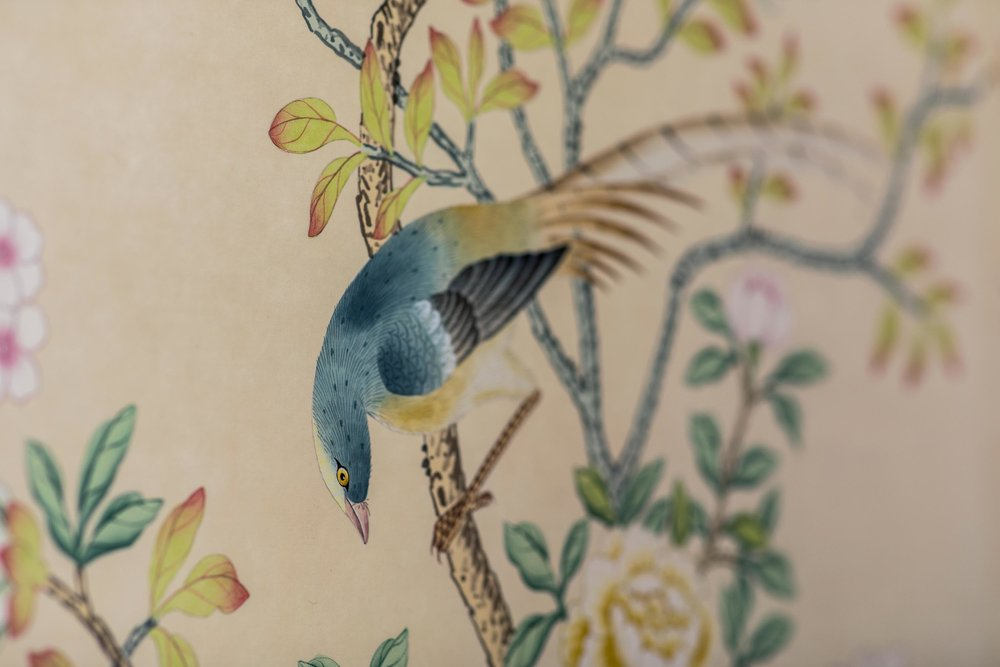 Watercolor hand drawn bird on a plant