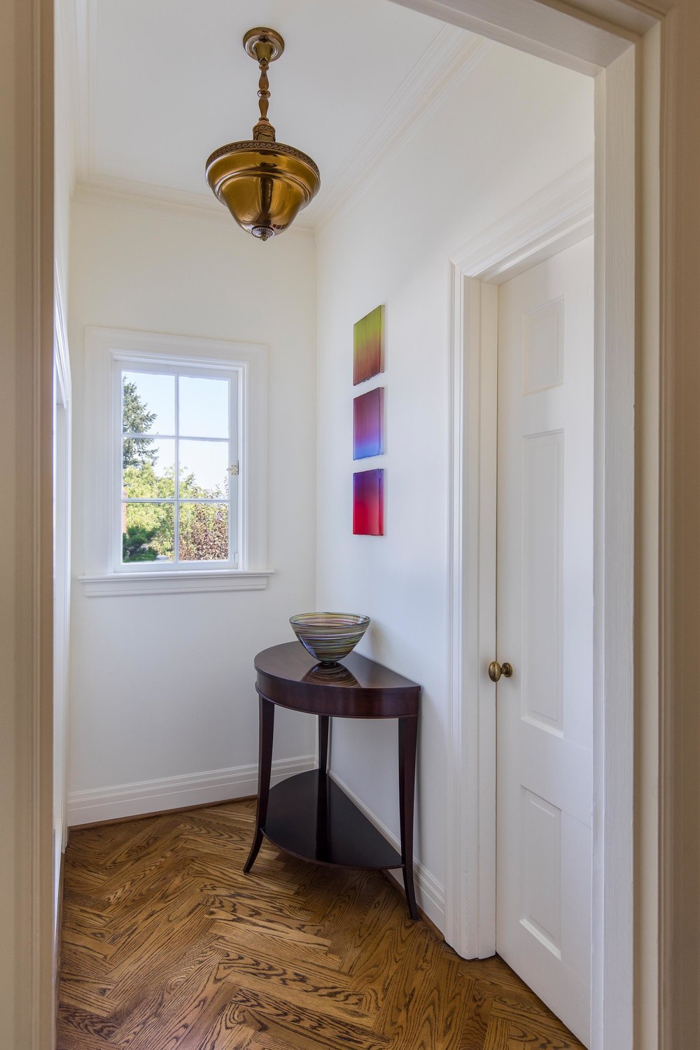 House interior with hallway and a side table