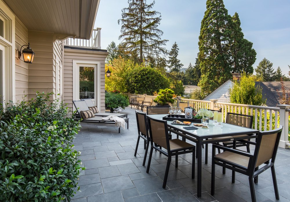 Modern house with outdoor dining table