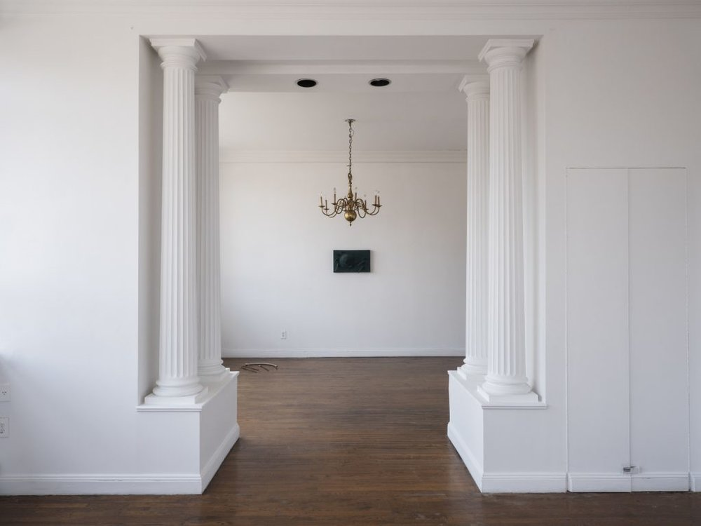 "CAPITANES, Installation View, floor work by Bea Fremderman, ""At The End of The Game You Will Be Forgotten"", at Alyssa Davis, New York, NY, 2018"