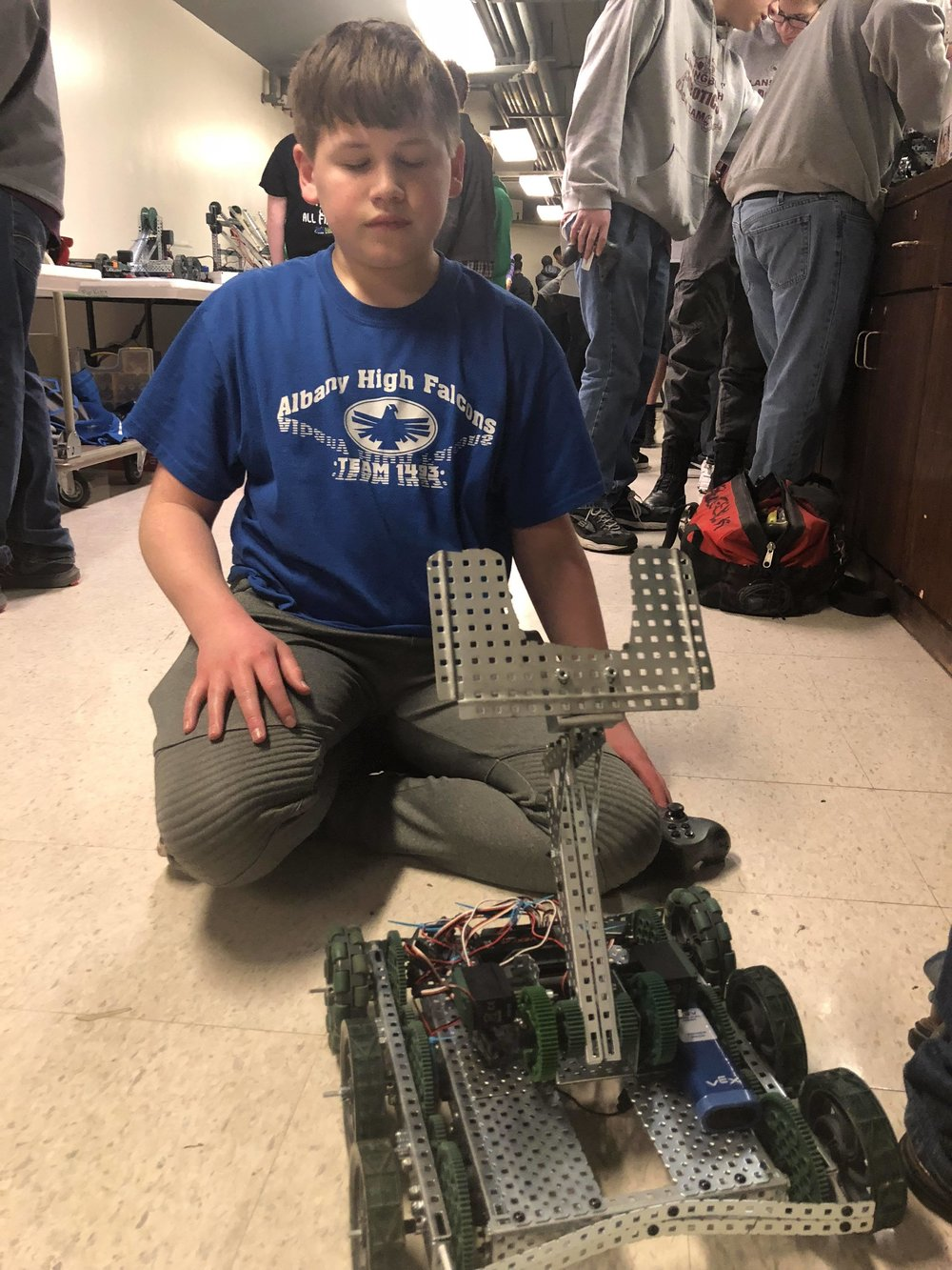 - Brodey and the winning robot.