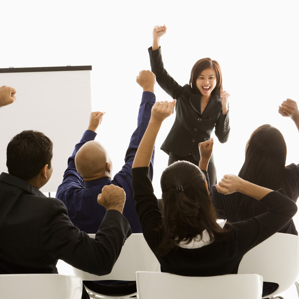 Team meeting. Tony Robbins style.