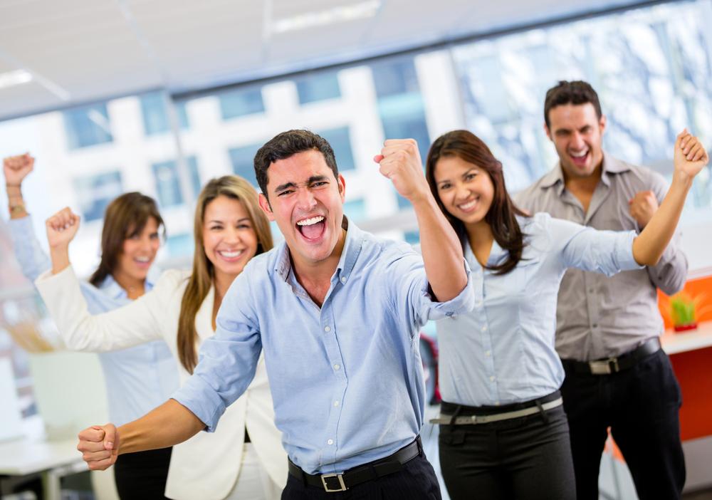 Cheering employees