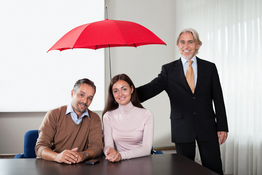 Financial planner with umbrella