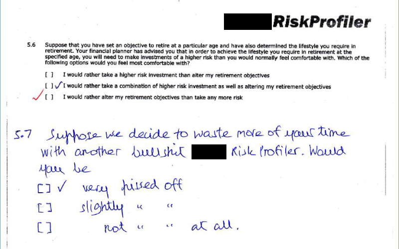 Not-so-subtle client feedback on a risk profile questionnaire