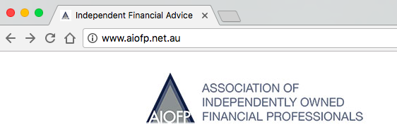"The page title for the AIOFP says ""independent financial advice"". Uh oh."