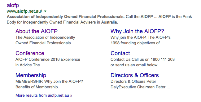 "The Google search result, using search term ""aiofp"" (without the quotes)."