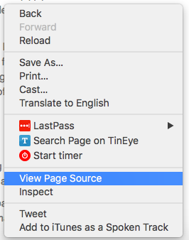 "Right click on your site and select ""View Page Source""."