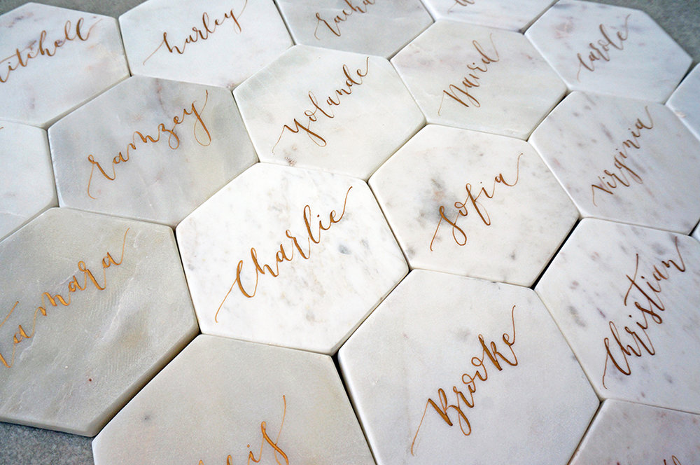Pointed pen calligraphy marble place cards