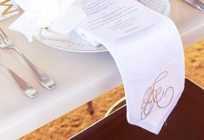Custom calligraphy monogram napkins