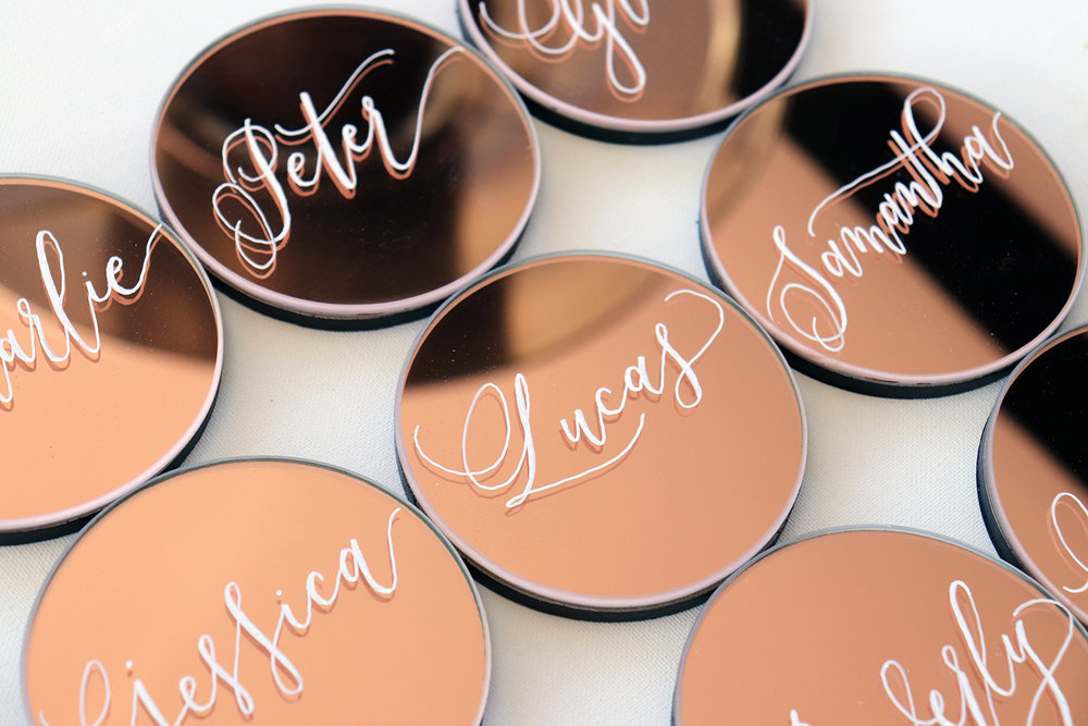 Hand painted, rose gold coasters/ Place cards