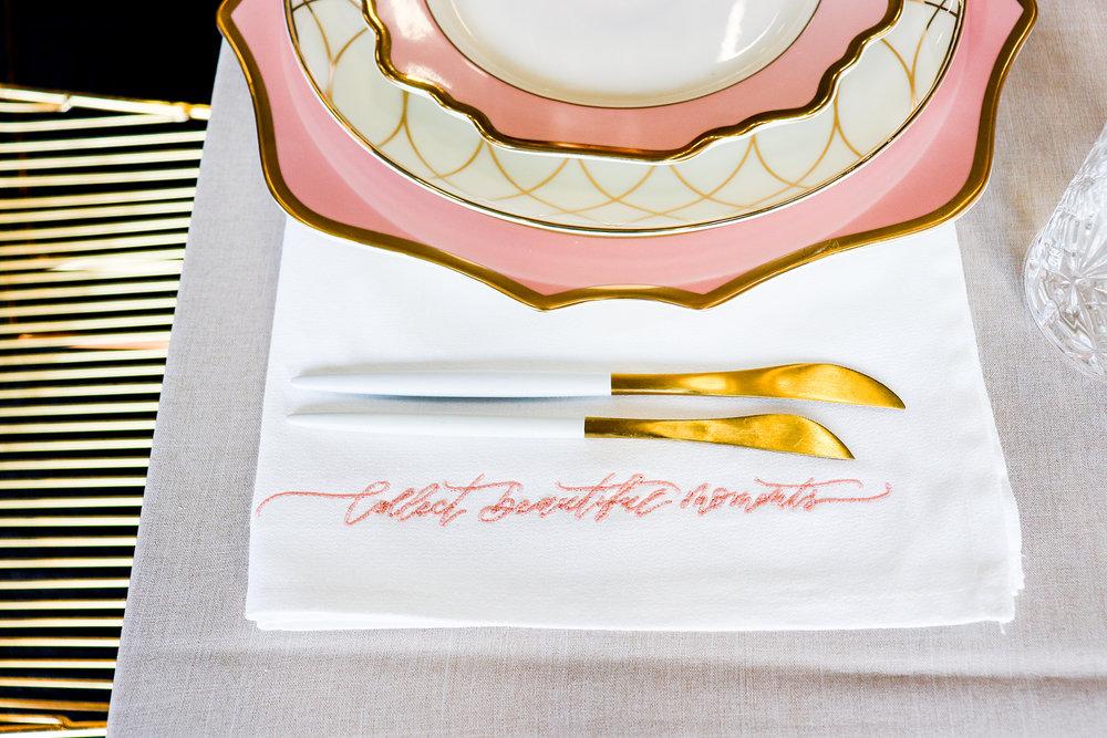 hand written calligraphy napkins