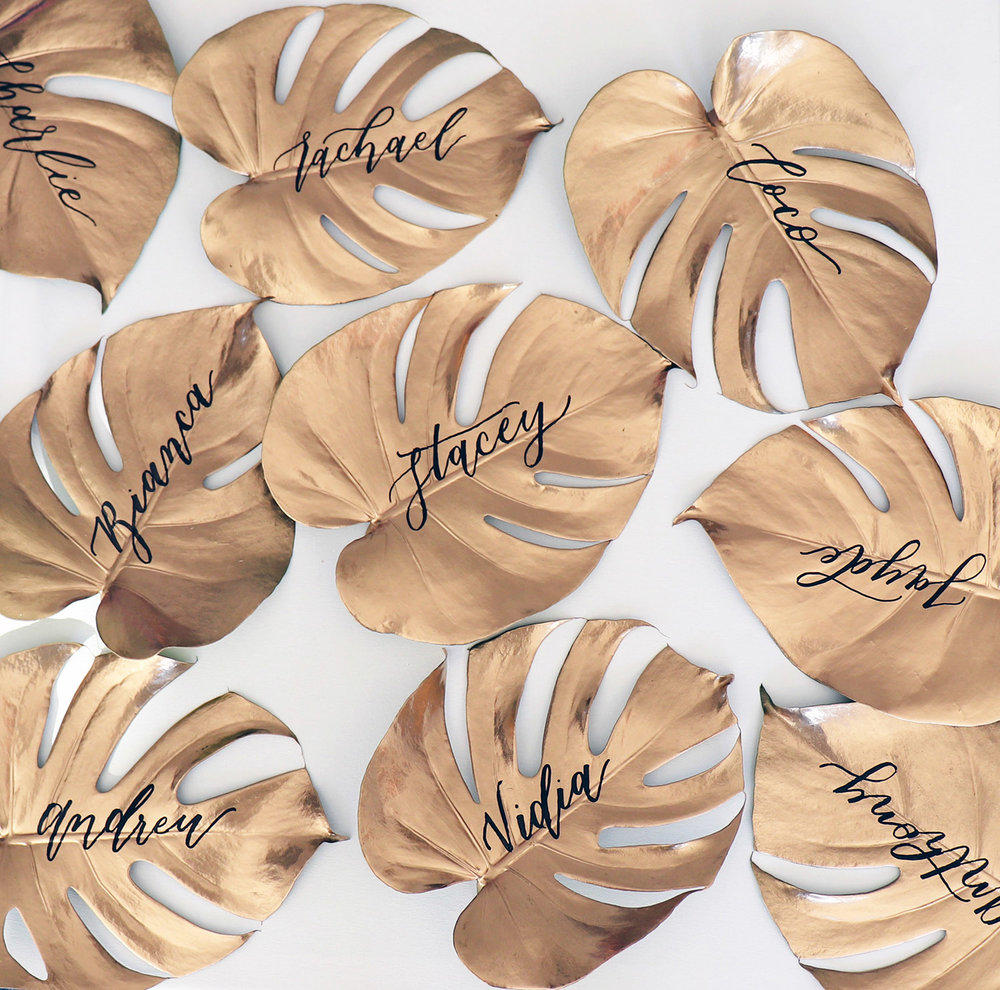 gold spray & hand painted calligraphy leaves