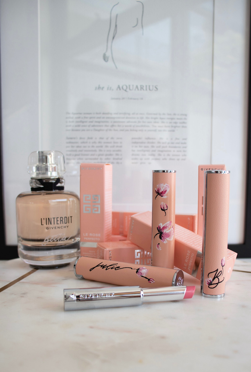 Hand painted peonies and calligraphy for Givenchy Le Rose Perfecto
