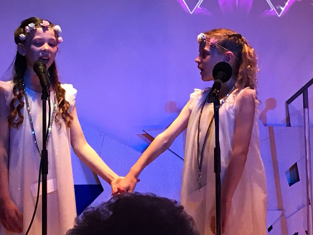 Austeja, 9 and Primrose 8, performing in The S Factor Finals