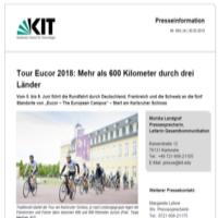 Tour Eucor 2018: Mehr als 600 Kilometer durch drei Länder - KIT, 30.05.2018