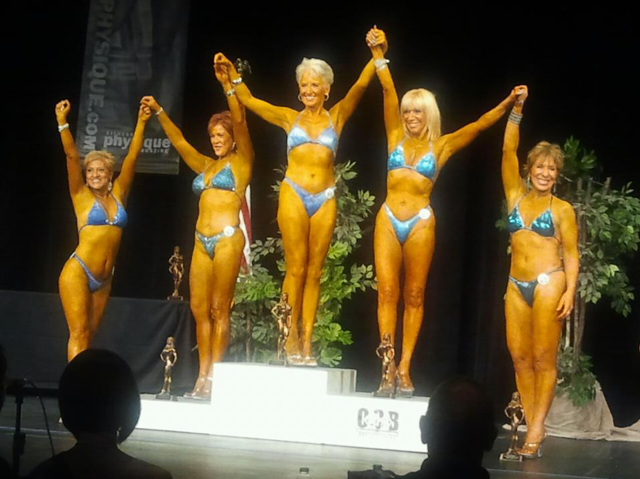"Fit and fabulous! - Here you can see me, together with other women in the ""over 60"" category at the Natural Physique Contest, showing that being in good shape has no number of years on it!"
