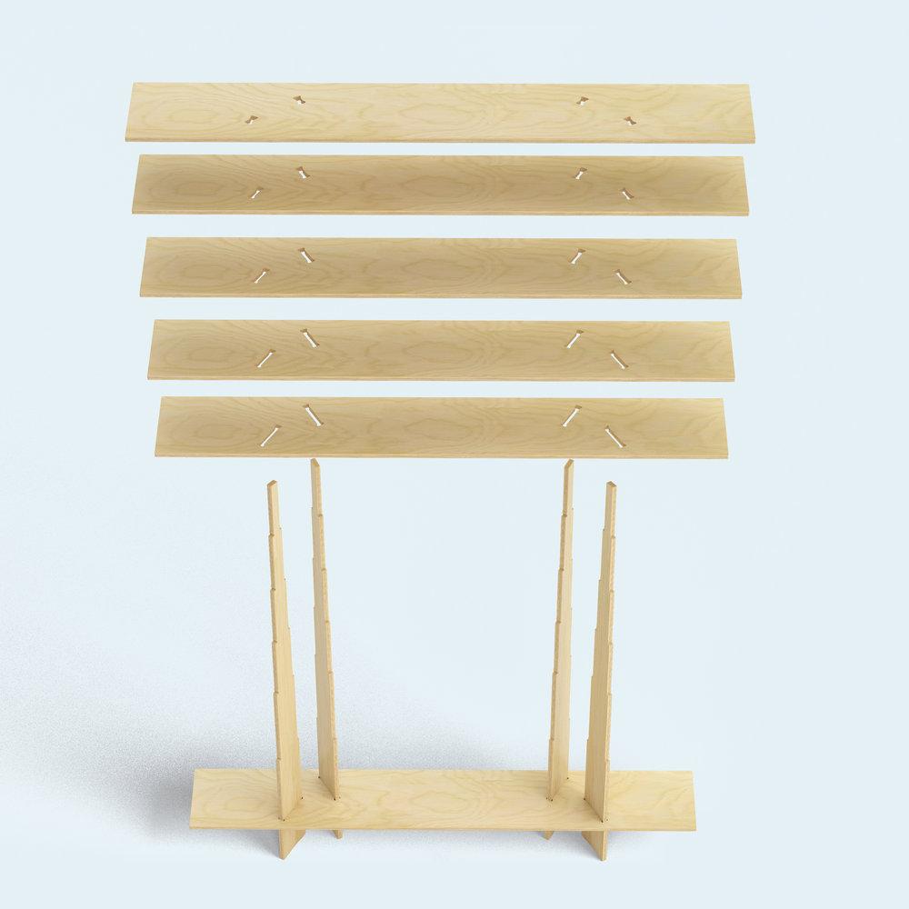FIT_Furniture-Forest_Shelf_exploded-Ronen_Kadushin