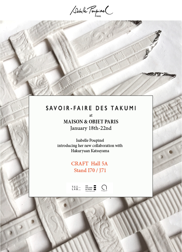 """M&O 18/22.01.2019 - Hall 5A - CRAFT - I 70 / J71"""" SAVOIR-FAIRE DES TAKUMI """"After 8 months of exchange with my Japanese partner(s), HAKURYUAN KATSUYAMA Co. , I am pleased to present our commun piece of art: ITOYO.A poetic and light creation mixing white porcelain and traditional silk fabric (Tzusuré-ori) on the theme of transparency.Katsuyama and I have created 2 versions of ITOYO, one for France and one for Japan.The show """"Savoir-faire des Takumi"""" will continue at:Ateliers des Blancs Manteaux, Paris : Jan.24 / Feb.3Takashimaya Store, Kyoto : Feb.27 / March.5Takashimaya Store, Tokyo : March 20-26"""