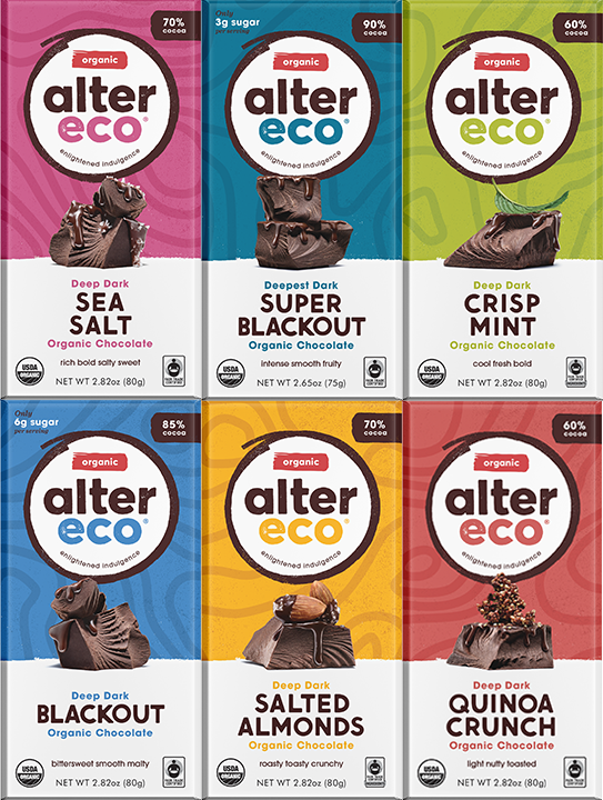Alter eco vegan bar bundle - In addition to being Vegan these delicious bars are organic, fair trade and gluten-free too! Packaged in recyclable card.100% of Alter Eco products are sourced directly from small-scale farmers. Beyond paying the Fair Trade premium every year, they provide their partners with targeted assistance for concerns such as food security, biodiversity and gender equality. In a joint effort with PUR Projet, Alter Eco have been working with their cacao partner, Acopagro Coop, to replant and conserve a portion of the Peruvian Amazon. The number of trees they plant each year accounts for more than 100% of Alter Eco's carbon expenditure.Launching the world's first compostable, non-GMO, non-toxic candy wrappers, and inventing the world's first compostable stand-up pouch made from renewable, plant-based, non-GMO materias: they are working towards 100% compostable packaging and are part of a coalition to encourage the rest of the industry to follow suit.