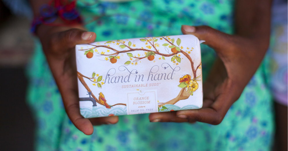 hand in hand - SUSTAINABLE SUDS SOAPSustainable, vegan & palm oil free soap bars made from coconut oil, cocoa butter, shea butter, essential oils, sugar and sunflower seed oil - all fairtrade ingredients. Hand in Hand are mindful of the environment in all they do, from sourcing and harvesting ingredients to the recyclable packaging. Hand in Hand was set up after their discovery out how many children die each year from water related illnesses. After some research, they learned that 45% of these deaths could be prevented with simple hand washing alone. They then decided to provide soap and clean water to children in the developing world through their buy a bar, give a bar & clean water programs.HOW THEY GIVE BACKFor every product purchased, one bar of soap + one month of clean water is donated to a child in need.100% of their donations go to the children of Haiti.CLICK HERE TO VISIT SITE