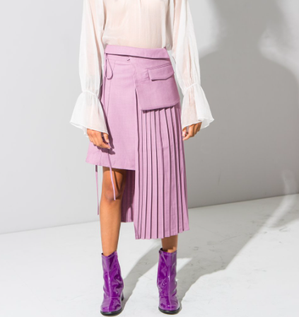 Lilac Asymmetric pleated skirt
