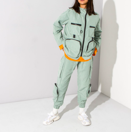 Green multi pocket jacket and trousers
