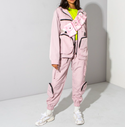 Pink multi pocket jacket and trousers