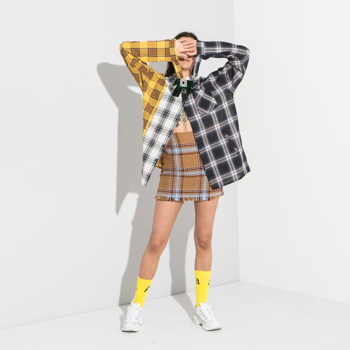 Patchwork checked shirt