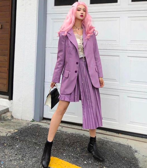 @cheristyle wearing our lilac suit