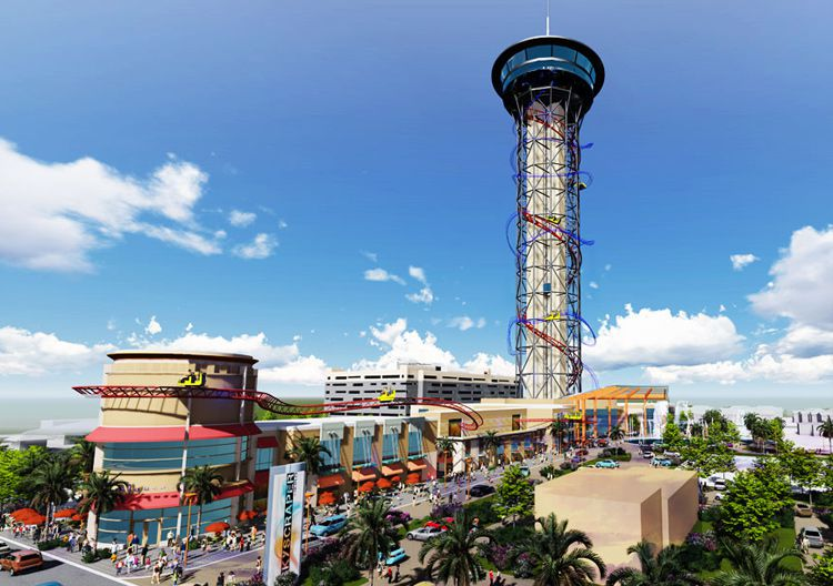 Skyplex - Location: Orlando, FloridaAbout Skyplex: Skyplex is a family entertainment center located on 14 acres of land in sunny Orlando, FL. The complex features a 570 feet tower, which features the world's tallest roller coaster along with a skyscraper. Attractions include a family game area accompanied by an adult game room, central bar and dining, billiards, video games, simulators, high speed competitive go-cart track, and a smaller track designed for all ages. Among dining options is the Apex Sports Bar which includes private party rooms, VIP seating, tequila bar, and a large screen theater perfect for the viewing of sports programs. The open-air retail promenade, SkyPlaza, will be anchored by a 10,000 square feet Perkins Restaurant and Bakery, which will be the largest in the world! The promenade will include several other retail and restaurant tenants. Topping of the center is The Skyplex Observation Deck at 535 feet high, which can be accessed via Florida's tallest glass elevator.Opening Status: Slated to open in 2020!