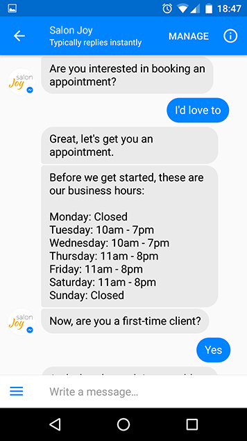 salon chatbot