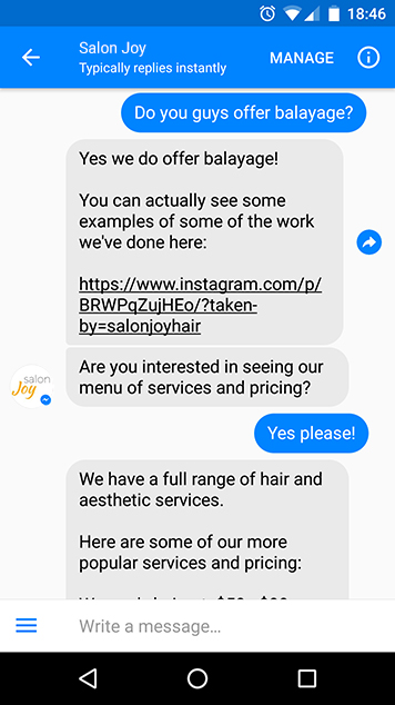 chatbots for salons