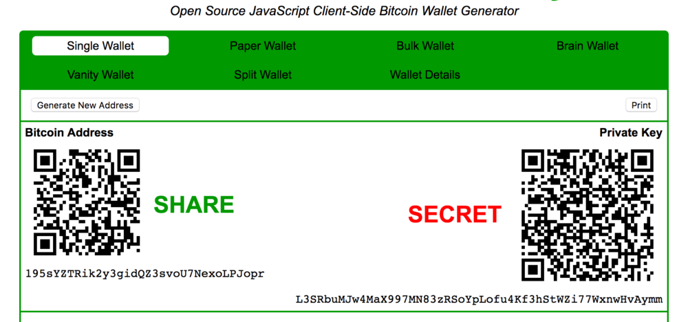 Public and private key of a wallet