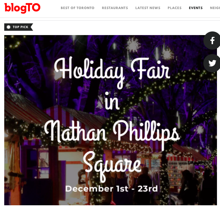 BlogTO - Whether you're looking for that unique, perfect gift, taking the family for an afternoon of skating and festive fun, stopping by for some lunch and shopping, or enjoying a romantic evening drink at the ice bar, Holiday Fair in the Square has something for everyone.Learn more