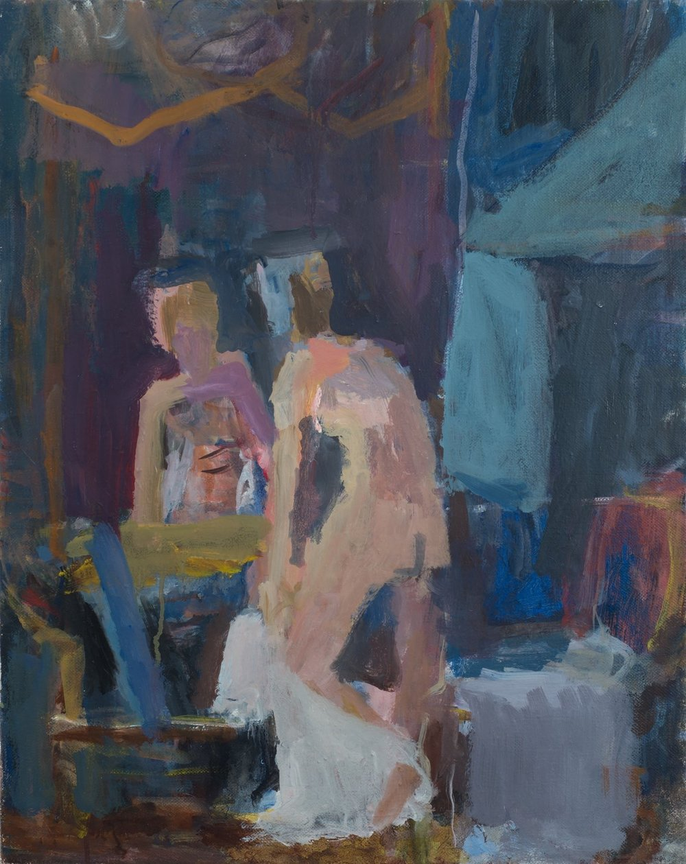 Woman Dressing in Front of Mirror