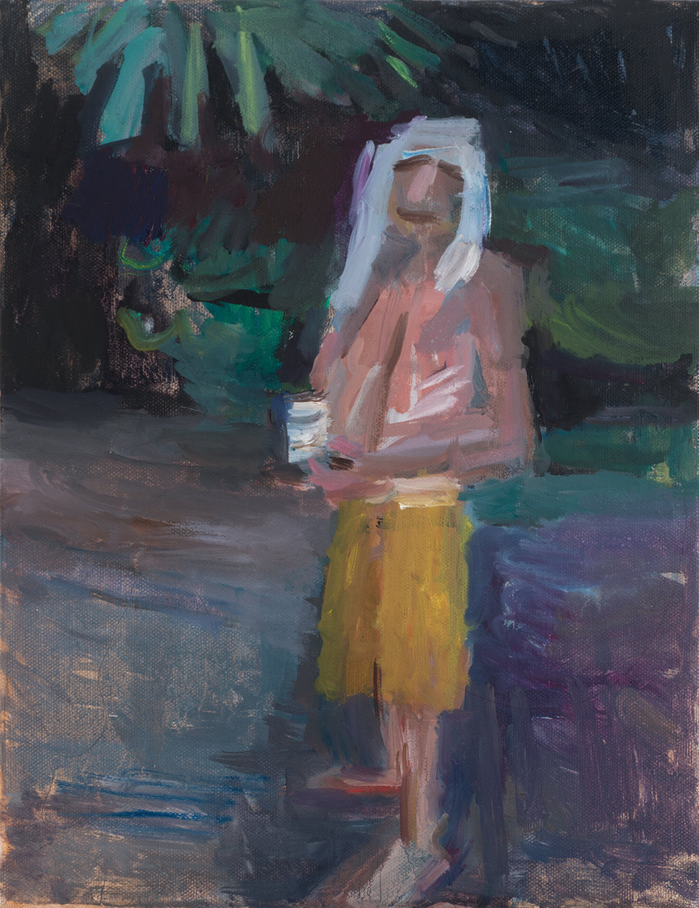 Man Drinking in the Woods