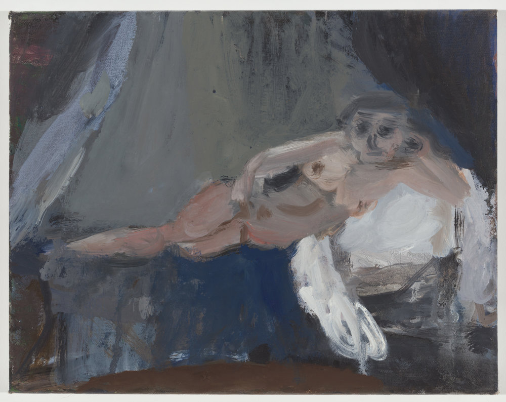 Reclining Nude, Gray Curtain