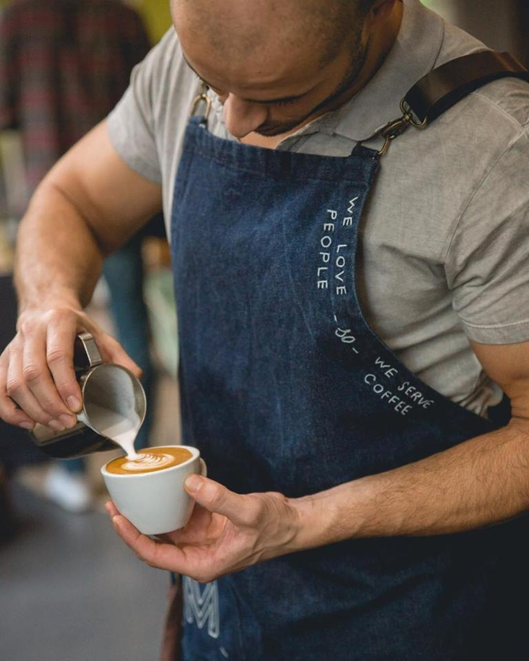 "MATAMATA   ""They love people so they serve coffee""   MATAMATA  is a coffee shop located in the heart of Paris. Their coffee will make you feel at home.  We made custom made denim aprons embroidered by hand."