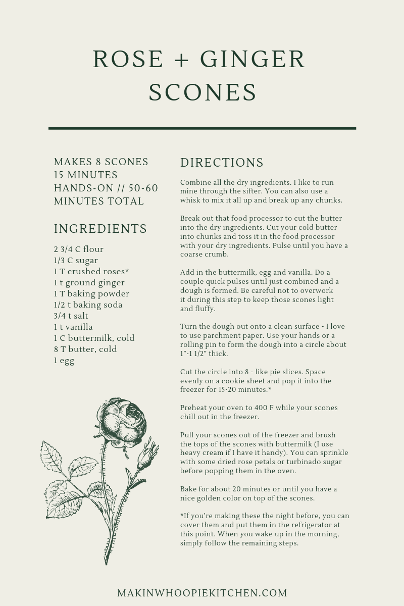 Rose and Ginger Scones Recipe Card