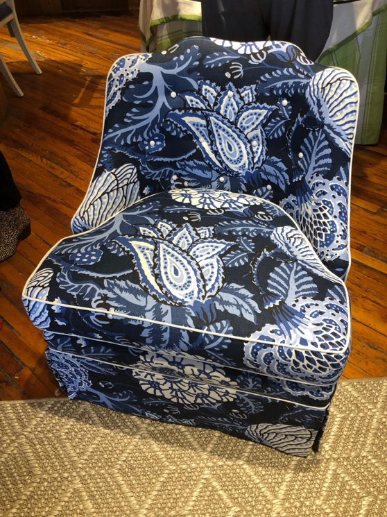 Pretty patterns on these chairs at Thibaut's colorful showroom.