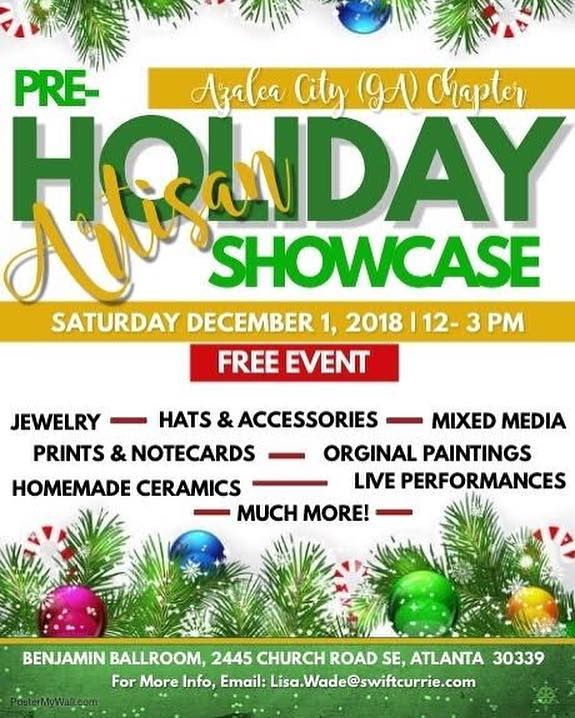 Now that Black Friday and Cyber Monday are over, join Azalea City Links at the Pre-Holiday Artisan Showcase! Come find your unique holiday gifts while enjoying live entertainment. This is a free event featuring a variety of vendors with art, jewelry, ceramics, hats and more. Don't miss this one of a kind shopping opportunity!  The Benjamin Ballroom - 2445 Church Rd. Atlanta.  #linksinc #salinks #soaring2greaterheights #holidayshopping #art #jewelry #uniquegifts