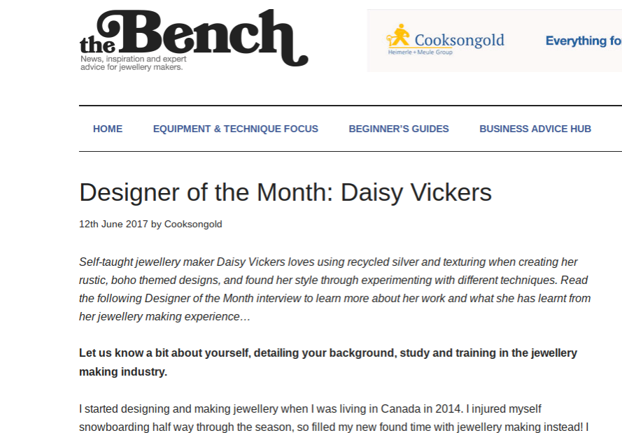 Cookson Gold - Designer of the month. Read full interview here.